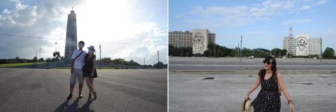 à direita: Memorial José Martí; à esquerda: Che & Camilo