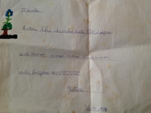 bilhetinho escrito em 22/01/1995, quando eu tinha 5 anos e 1 mês de vida