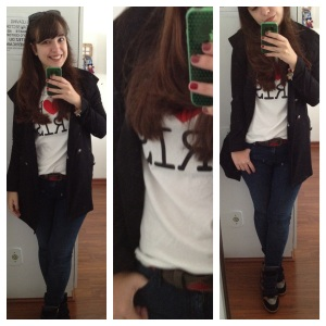 t-shirt + trench coat + jeans + sneakers