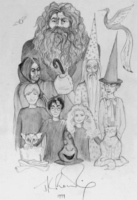 desenhado e assinado por J.K. Rowling em 1999